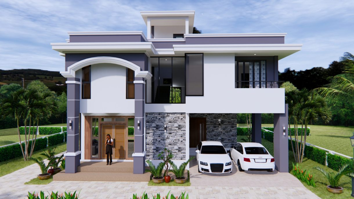 House Design 11x8 Meter 36x26 Feet 3 Beds 2