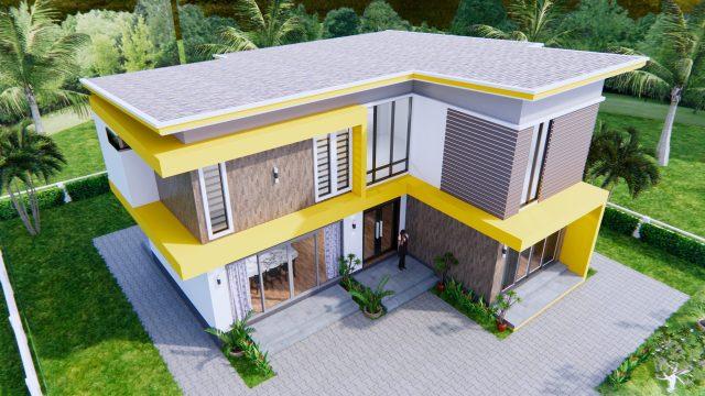 House Design 12.4x11 Meter 41x35 Feet 4 Beds 3