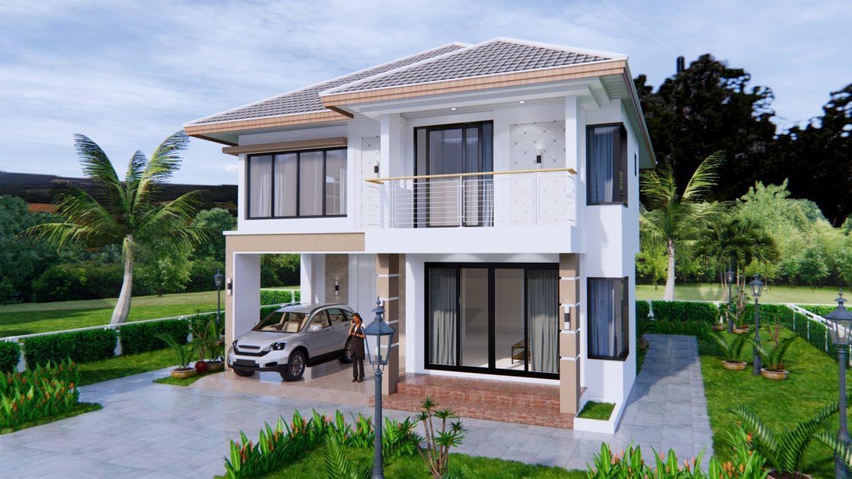 House Design 9x11 Meter 30x36 Feet 4 Beds 3