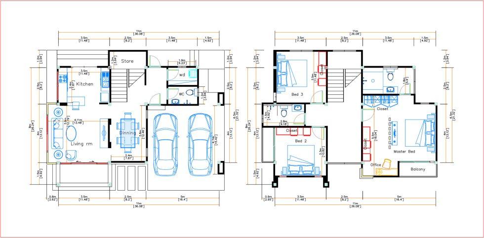 House Design 11x8 Meter 36x26 Feet 3 Beds Layout floor plan