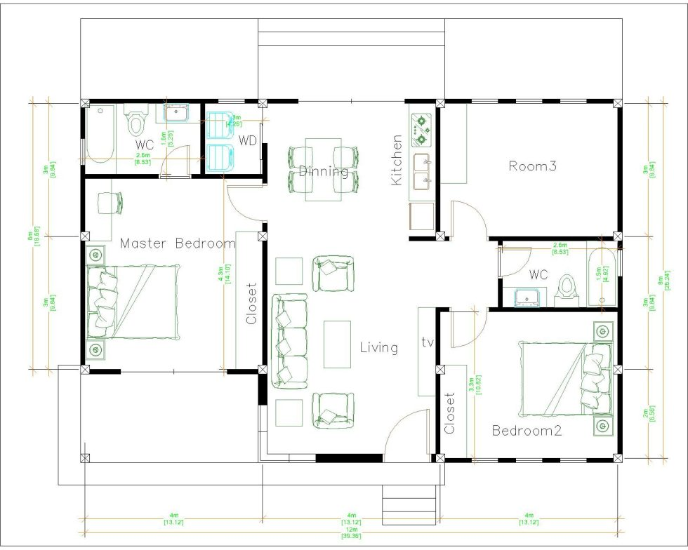 One Level House Plans 12x12 Meters 40x40 Feet 3 Beds Layout floor plan