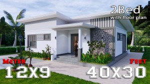 One Storey Building 12x9 Meter 40x30 Feet 2 Beds