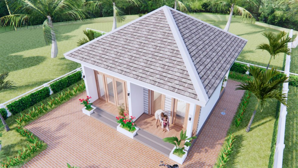 Small House Design 7x7 Meter 23x23 Feet One Bed 2