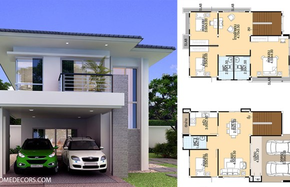 House Designs 7.5×13 meter with 4 bedrooms