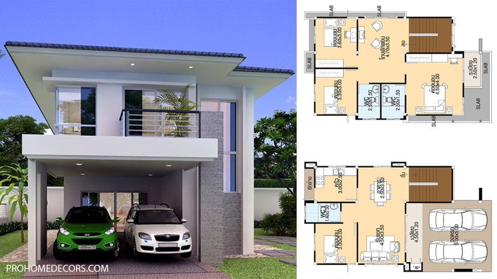 House Designs 7.5x13 meter with 4 bedrooms