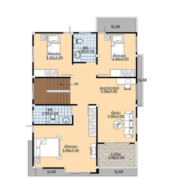 House Plans 7.5x12 Meter with 4 Bedrooms floor plan first floor