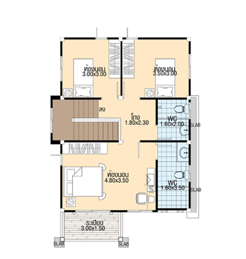 Home Plans 7.5x10 Meter with 3 Bedrooms first floor plans