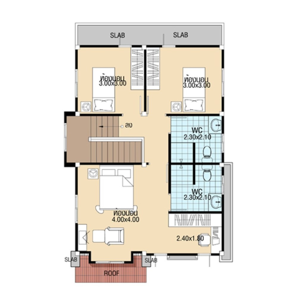Modern House Design 7x11 with 3 Bedrooms first floor plans