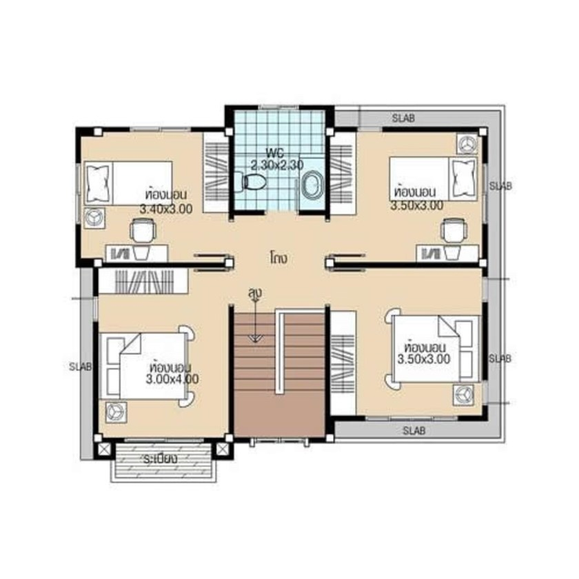 Simple House Plans 8.8x8 with 4 Bedrooms first floor plans