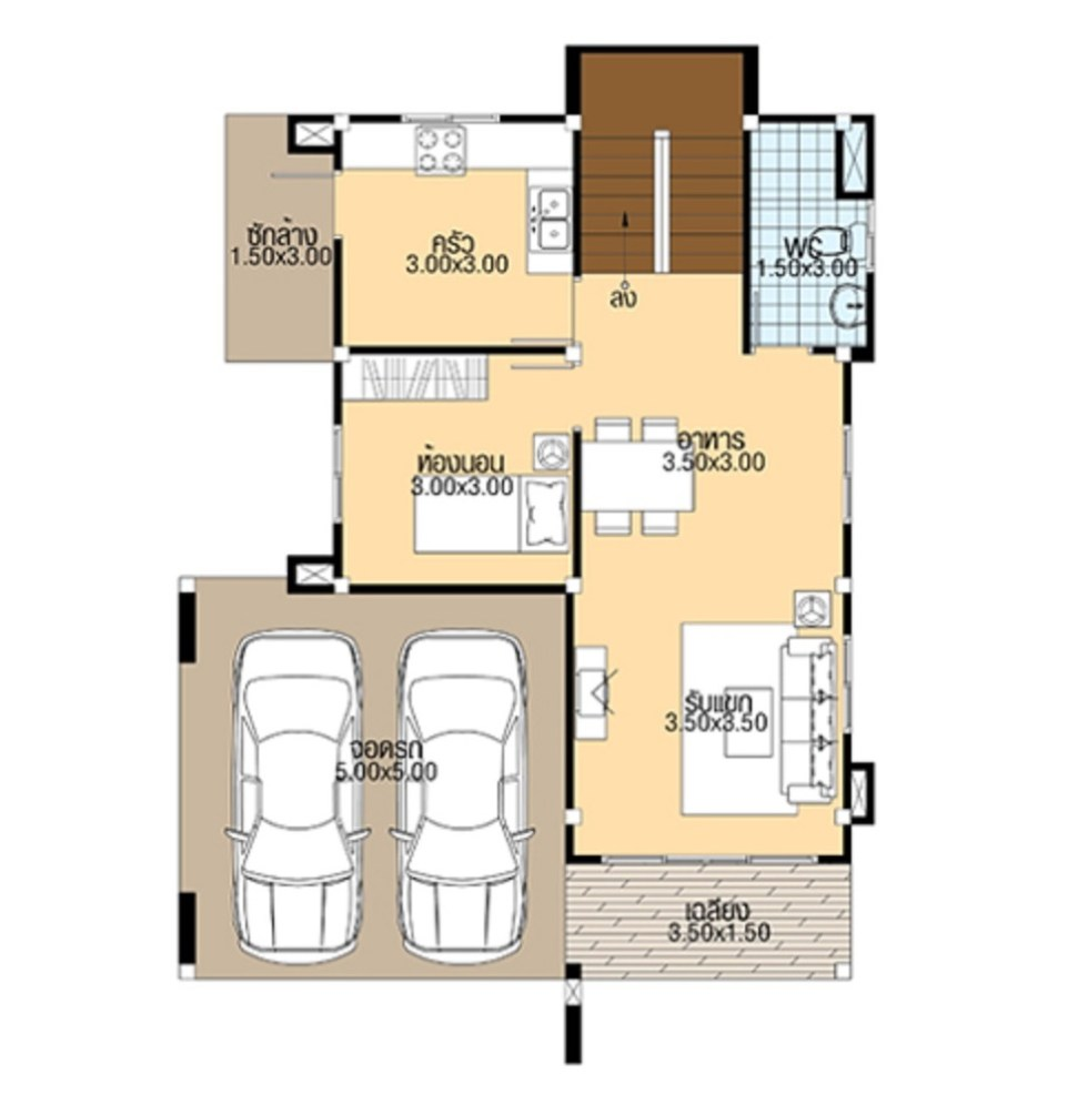 Small House Design 8.5x11 with 4 bedrooms ground floor plan
