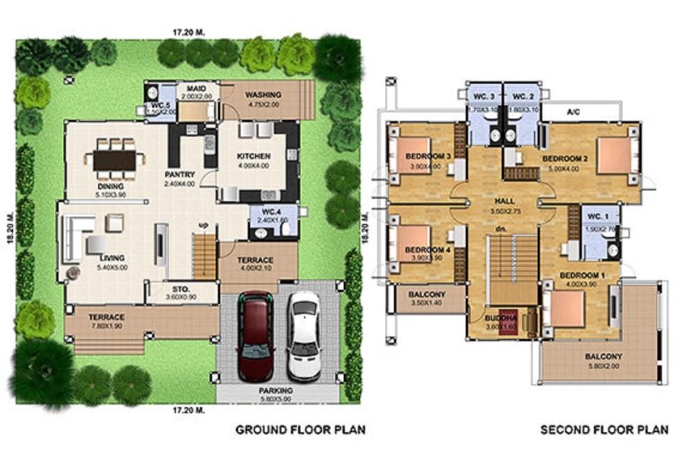 House Design Plot 17x18 with 4 Bedrooms floor plan
