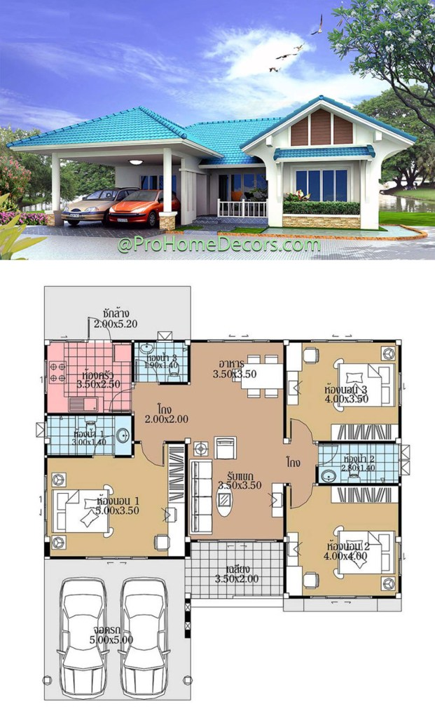 House Plans 12.5x12.5 with 3 Bedrooms