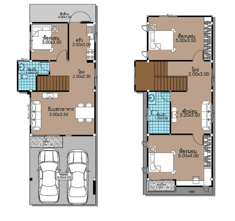 House Plans 5x12.3 with 3 Beds floor plan
