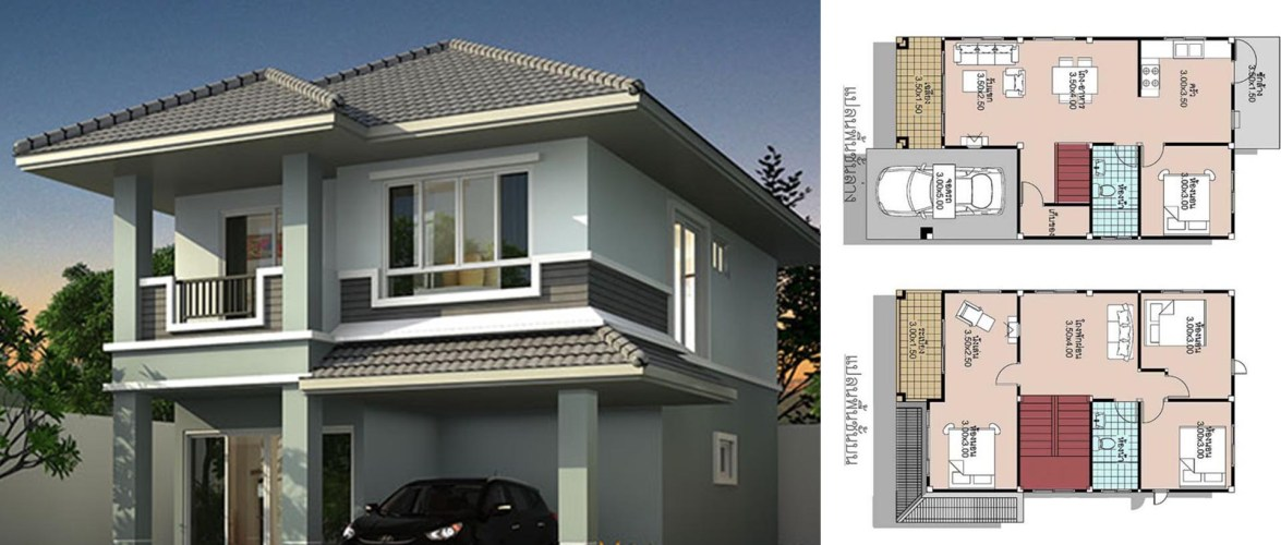 House Plans 6.5×11 with 4 Beds