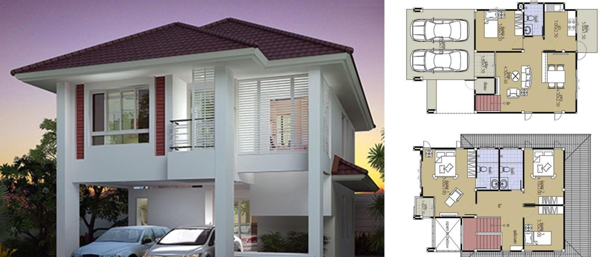 House Plans 7.5×10.5 with 4 Beds