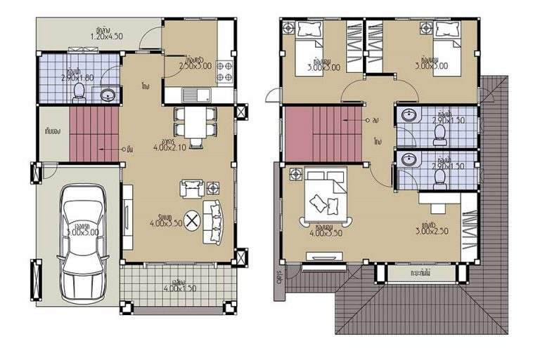 House Plans 7x10.2 with 3 Beds floor plan