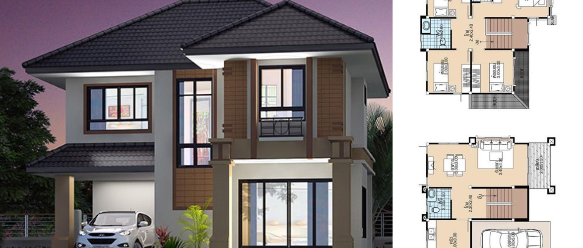 House Plans 8.3×8.8 with 4 Bedrooms