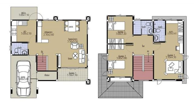 House Plans 8.8x8 with 3 Beds floor plan