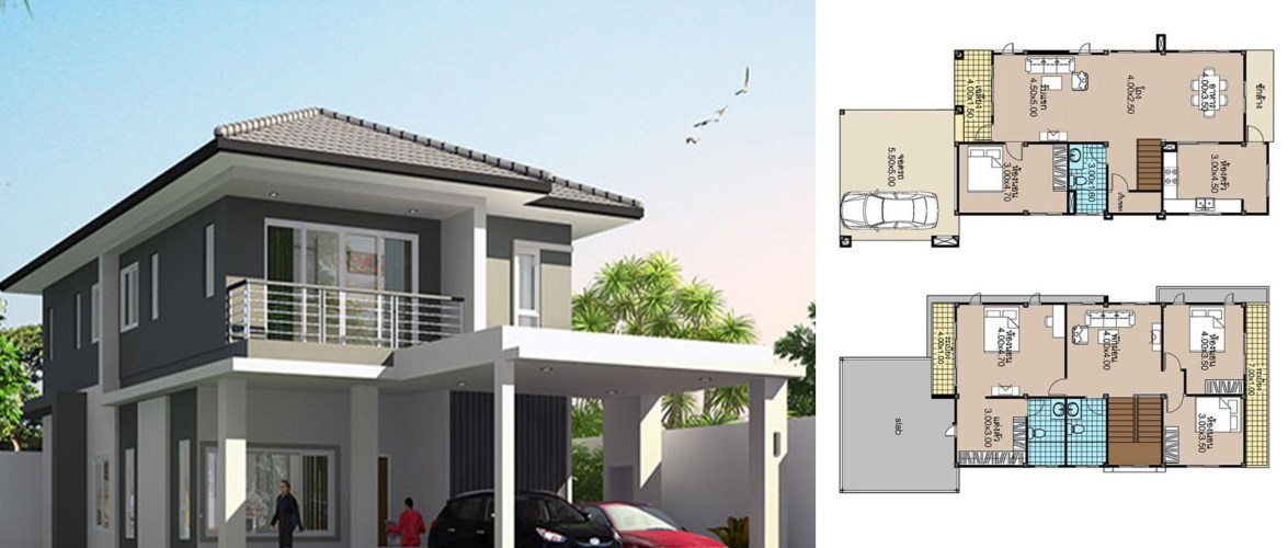 House Plans 8×17.5 with 4 Beds