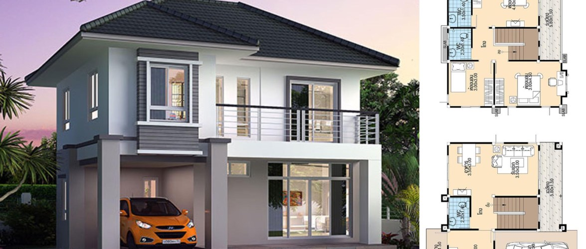 House design Plans 8.8×8.5 with 3 Bedrooms