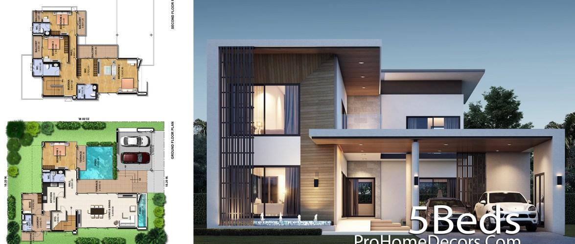 5 Bedrooms House Plan Plot 18×23 Meter
