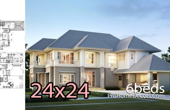 6 Bedrooms House Plan Plot 24×24 meters