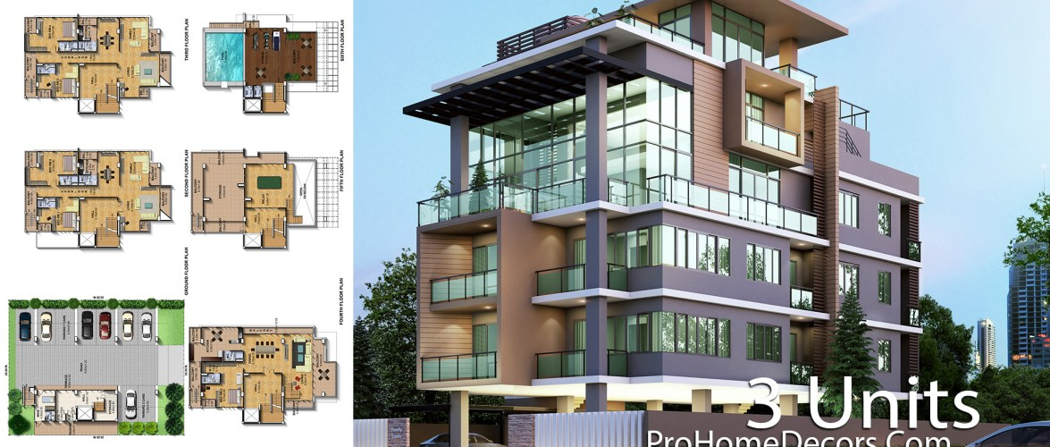 Apartment Plan Plot 20×24 Meter with 3 Units