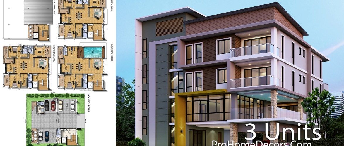 Apartment Plan Plot 22×23 meter with 3 Units