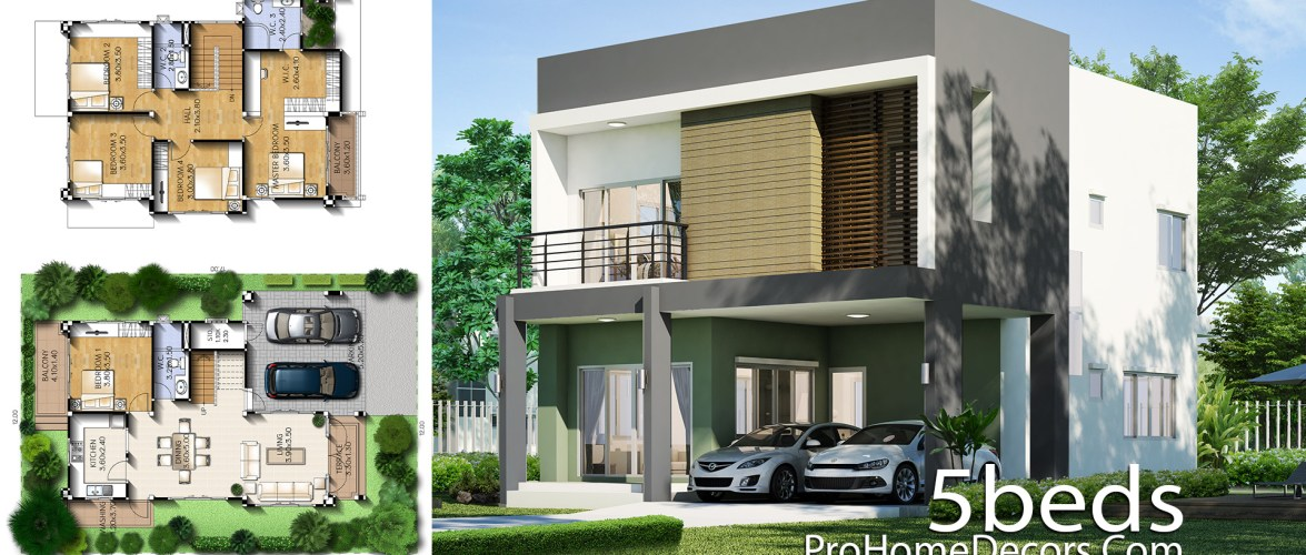House Design Plot 12×17 Meter with 5 Bedrooms