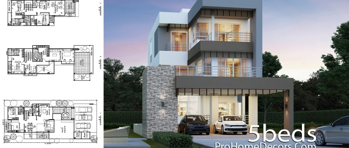 House Design Plot 12×26 Meter with 5 Bedrooms