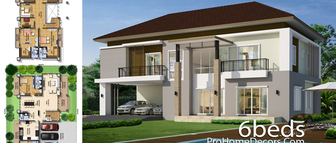House Design Plot 24×18 meter with 6 Bedrooms