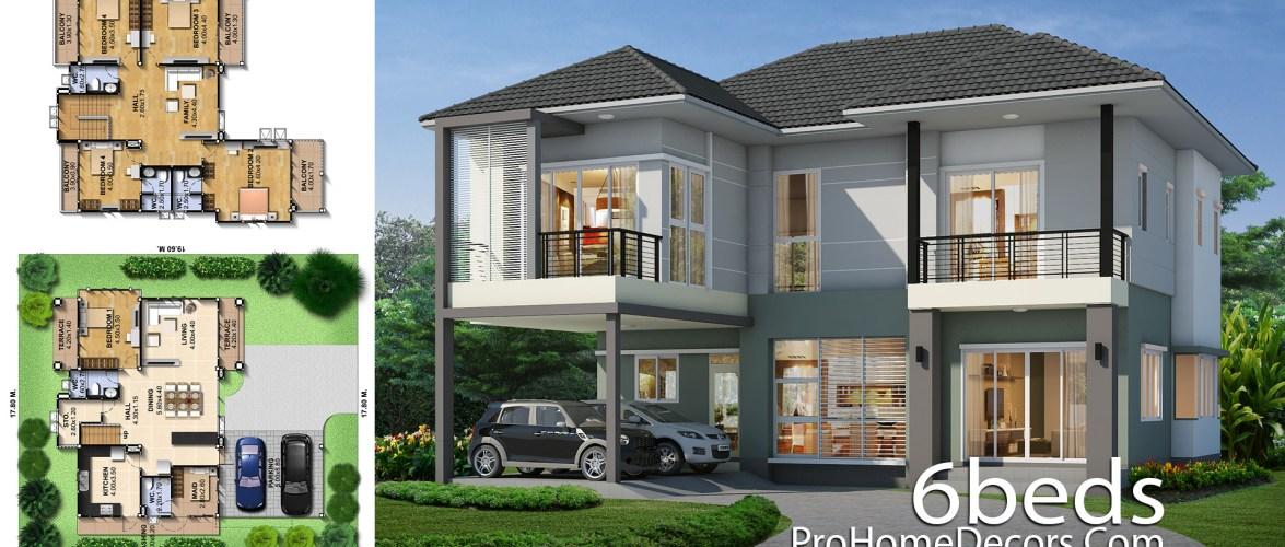 House Idea Plot 17×19 meter 6 Bedrooms