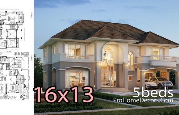 House Plan 16×13 Meter with 5 Bedrooms