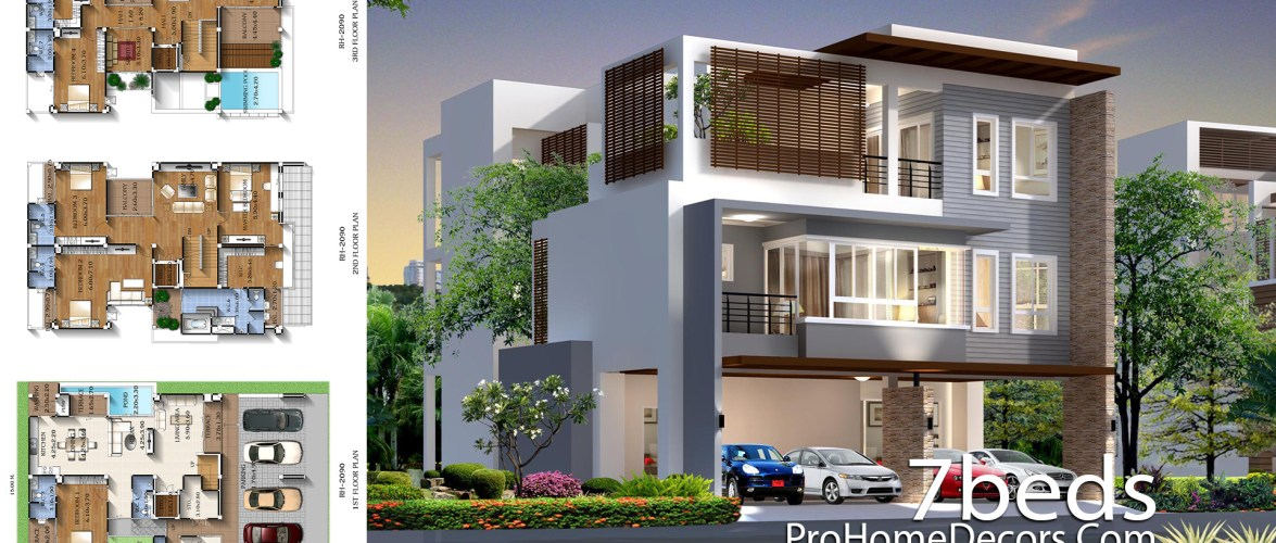 House Plan Plot 15×23 meter with 7 Bedrooms
