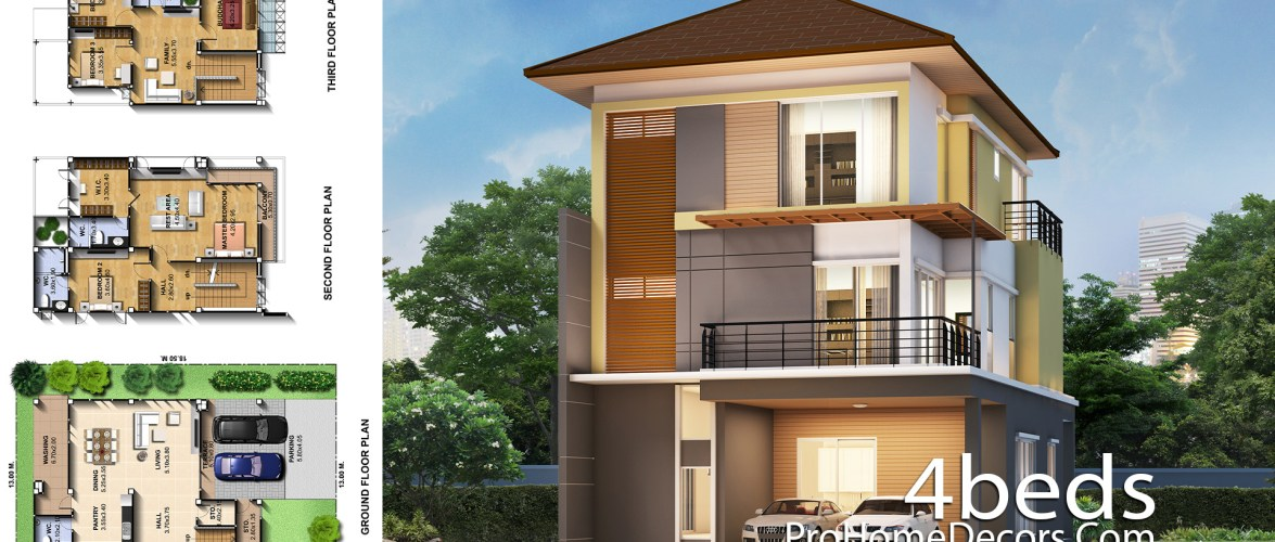 House Plans Idea 8.7×13 Meter with 4 Bedrooms