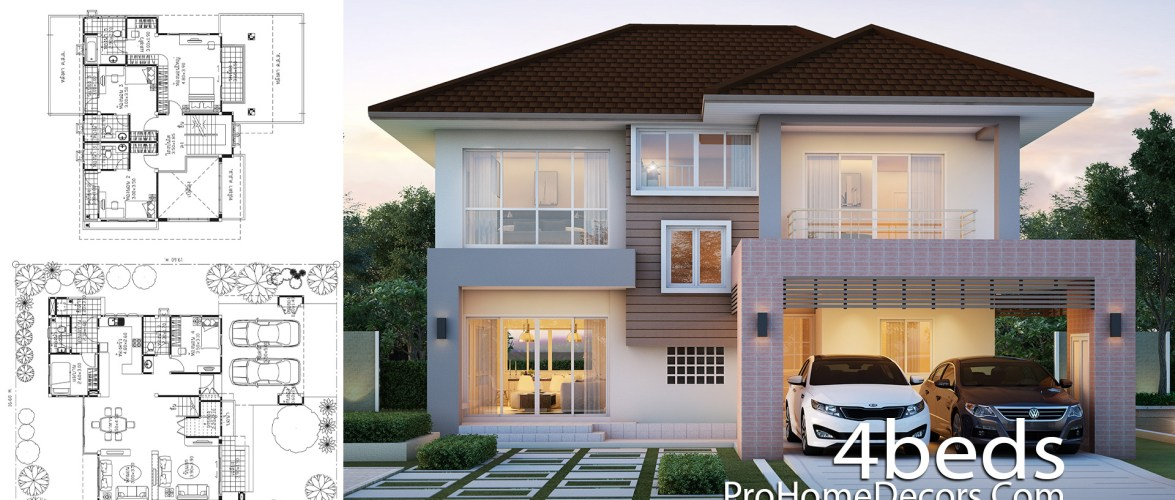 House Plans Plot 16×19 Meter with 5 Bedrooms