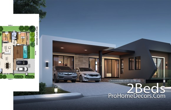 Modern One Story House Plot 20×17 meter with 2 Beds