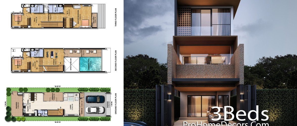 Narrow House Plot 7.5×23.5 Meter with 3 Bedrooms