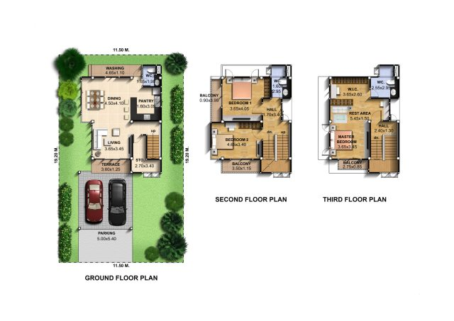 Small-House-Design-7.5x14-Meter-with-3-Bedrooms-Layout-floor-plan-Copy