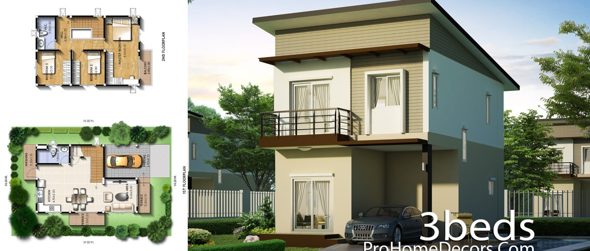 Small House Plot 10×14 Meter with 3 Bedrooms