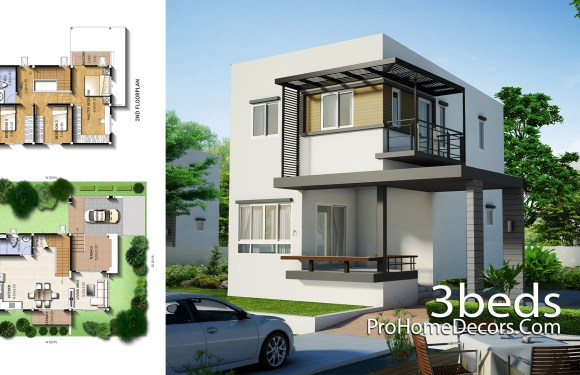 Small House Plot 12×14 Meter with 3 Bedrooms