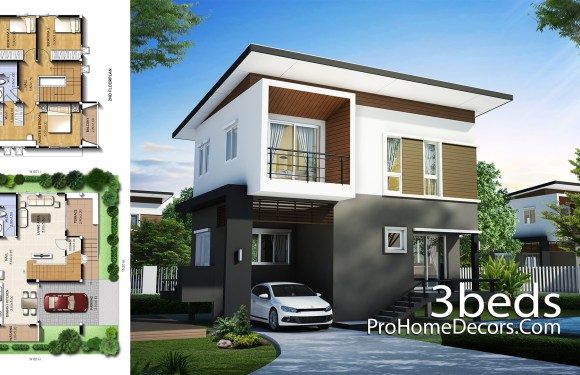 Small House Plot 13×11 Meter with 3 Bedrooms
