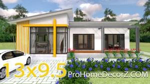 Modern House Floor Plans 13x9.5 Meter 43x31 Feet 2 Beds