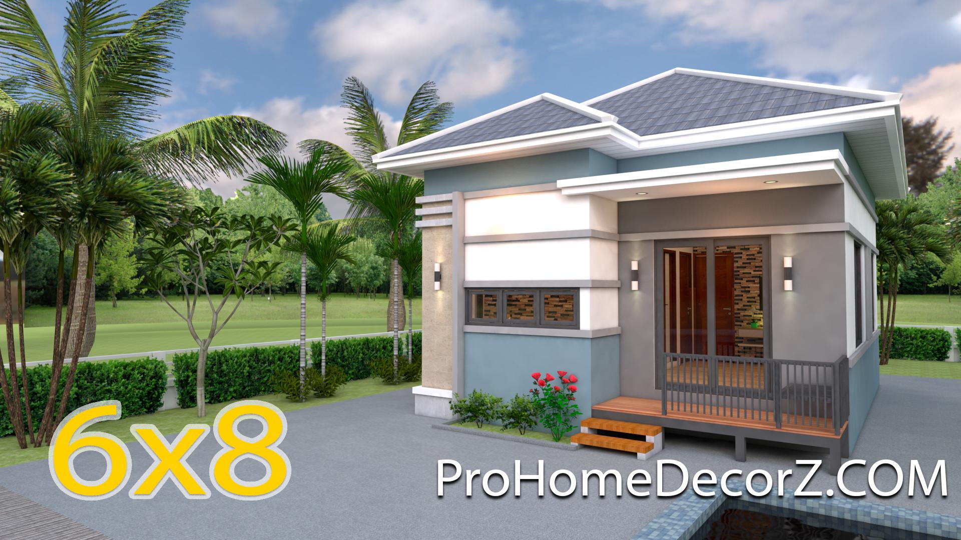 Modern Tiny House 6x8 Meter 20x26 Feet Hip Roof Pro Home Decor Z