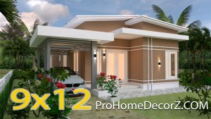 Small House With Garage 9x12 Meter 30x40 Feet 3 Beds