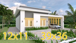 Single Story House 12x11 Meter 39x36 Feet 3 Beds