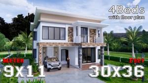 House Plans 9x11 Meter 30x36 Feet 4 Beds