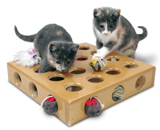 Котята и коробка с игрушками
