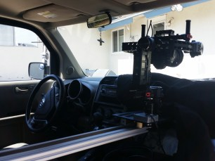 DJI RONIN ON SLIDER IN CAR MOUNT