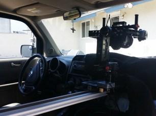 DJI RONIN ON SLIDER IN CAR MOUNT